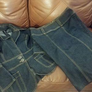 Medium. Denim top / jacket with matching skirt.